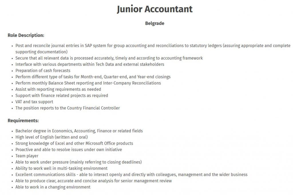 oglas za posao junior accountant